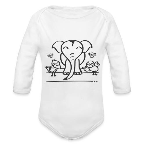 78 elephant - Baby Bio-Langarm-Body