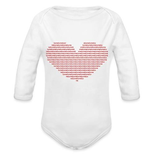 Isle of red Ascii Heart - Organic Longsleeve Baby Bodysuit