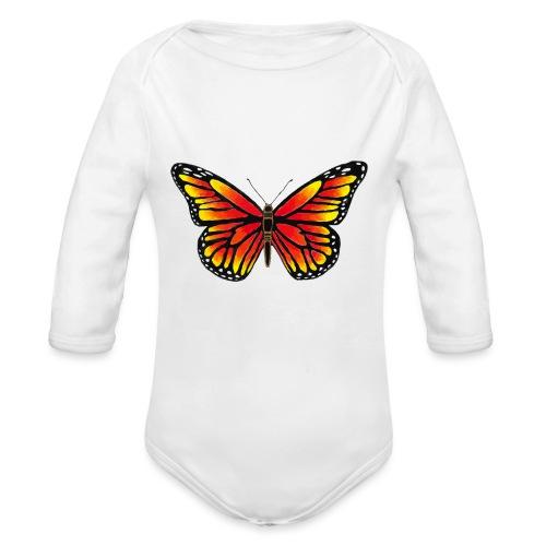 Sommerfugl - Langærmet babybody, økologisk bomuld