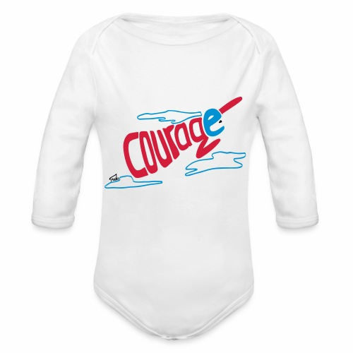 Courage superhero interior - Organic Longsleeve Baby Bodysuit