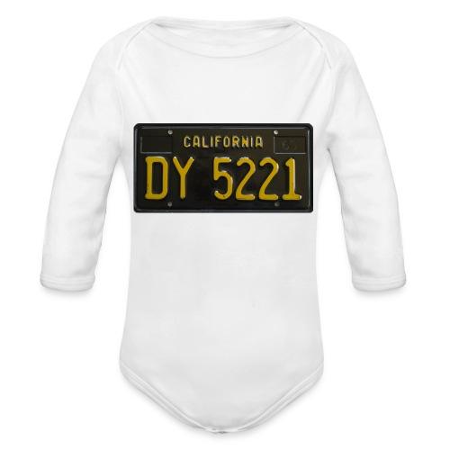 CALIFORNIA BLACK LICENCE PLATE - Organic Longsleeve Baby Bodysuit