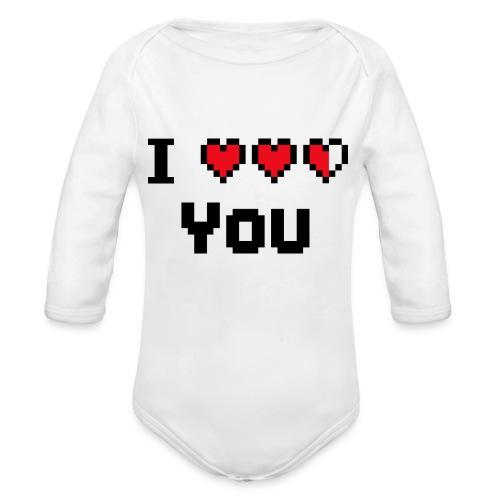 I pixelhearts you - Baby bio-rompertje met lange mouwen