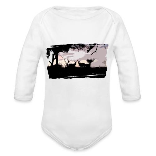 T-shirt cerf & biche personnalisé - Body Bébé bio manches longues