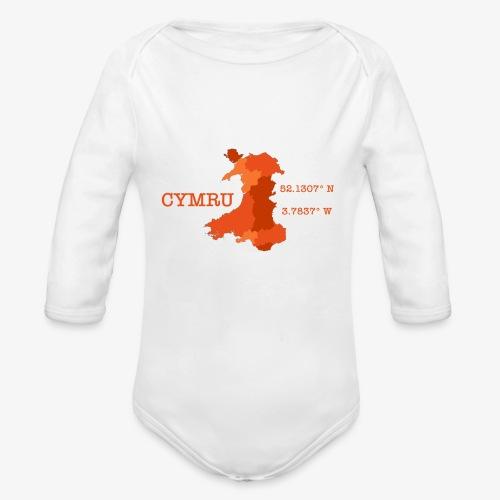 Cymru - Latitude / Longitude - Organic Longsleeve Baby Bodysuit