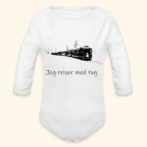 I travel by train - Organic Longsleeve Baby Bodysuit