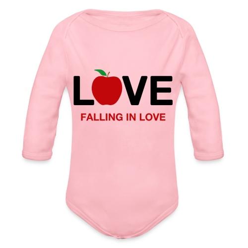 Falling in Love - Black - Organic Longsleeve Baby Bodysuit