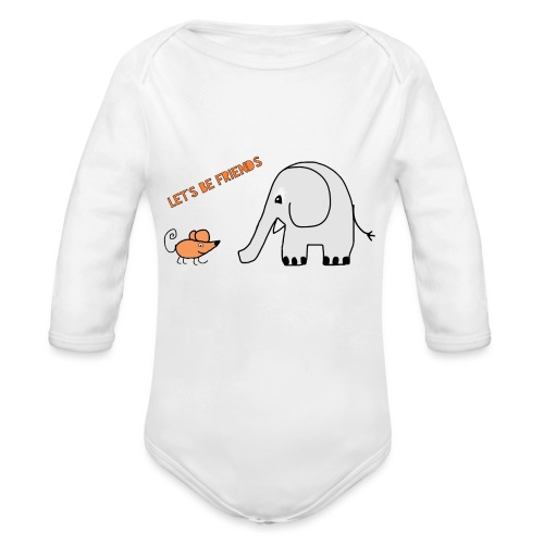 Elephant and mouse, friends - Organic Longsleeve Baby Bodysuit