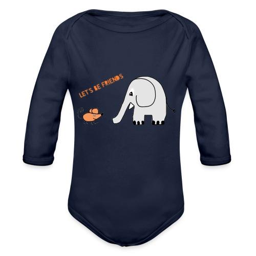 Elephant and mouse, friends - Organic Longsleeve Baby Bodysuit