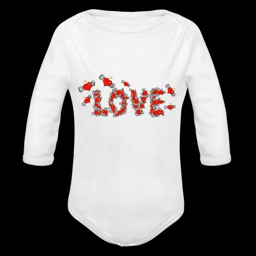 Flying Hearts LOVE - Organic Longsleeve Baby Bodysuit