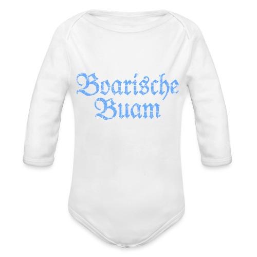 Boarische Buam Männer aus Bayern (Vintage Blau) - Baby Bio-Langarm-Body