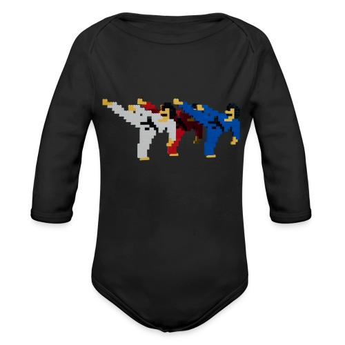 8 bit trip ninjas 2 - Organic Longsleeve Baby Bodysuit