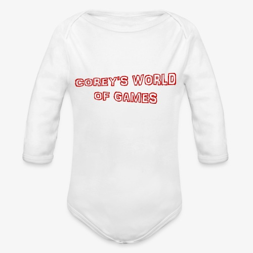 Coreys World Of Games Red - Organic Longsleeve Baby Bodysuit