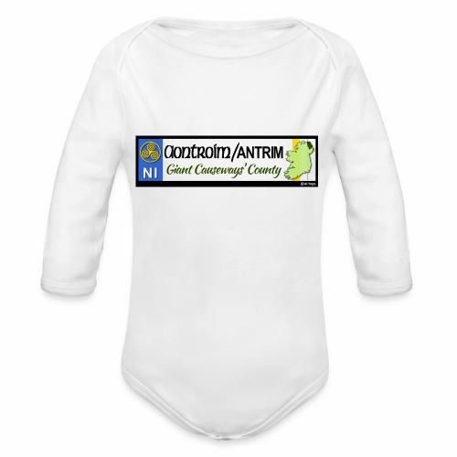 CO. ANTRIM, NORTHERN IRELAND licence plate tags - Organic Longsleeve Baby Bodysuit