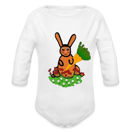 Rabbit with carrot - Organic Longsleeve Baby Bodysuit