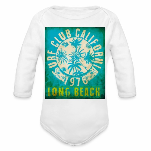 Long Beach Surf Club California 1976 Gift Idea - Organic Longsleeve Baby Bodysuit