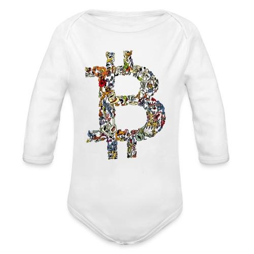 BITCOIN logo color - Baby bio-rompertje met lange mouwen