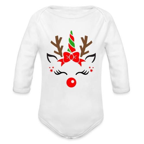 Licorne renne de Noël - Body Bébé bio manches longues