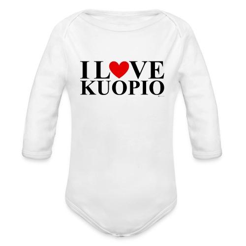 I LOVE KUOPIO (koko teksti, musta) - Vauvan pitkähihainen luomu-body
