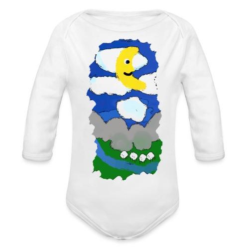 smiling moon and funny sheep - Organic Longsleeve Baby Bodysuit