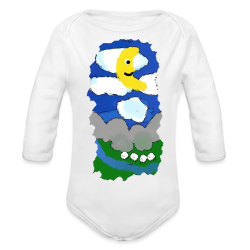 smiling moon and funny sheep - Organic Longsleeve Baby Bodysuit