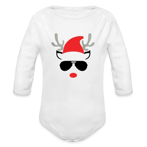 Cute Christmas Reideer with glasses for boys - Organic Longsleeve Baby Bodysuit