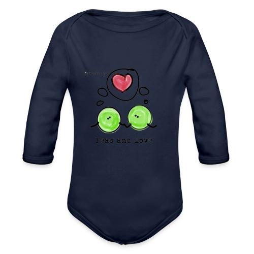 Peas and love with logo Transparent - Økologisk langermet baby-body