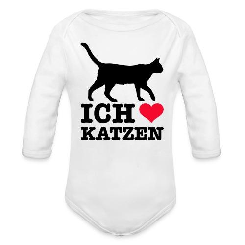 Ich liebe Katzen mit Katzen-Silhouette - Baby Bio-Langarm-Body