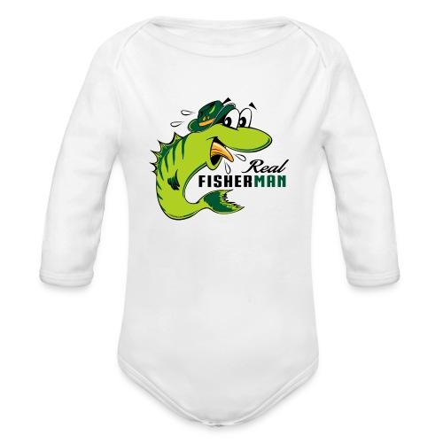 10-38 REAL FISHERMAN - TODELLINEN KALASTAJA - Vauvan pitkähihainen luomu-body