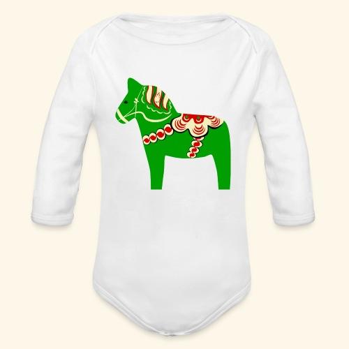 Grön dalahäst - Ekologisk långärmad babybody