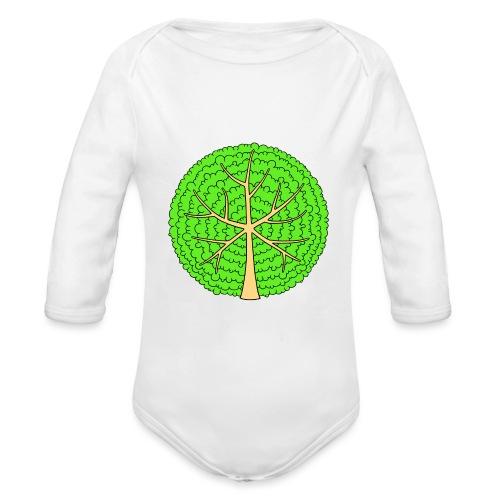 Baum, rund, hellgrün - Baby Bio-Langarm-Body