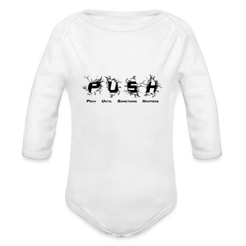 PUSH Black TEE - Baby Bio-Langarm-Body