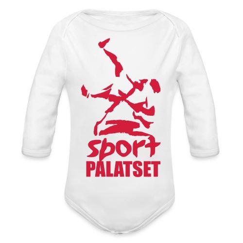 Motiv med röd logga - Ekologisk långärmad babybody