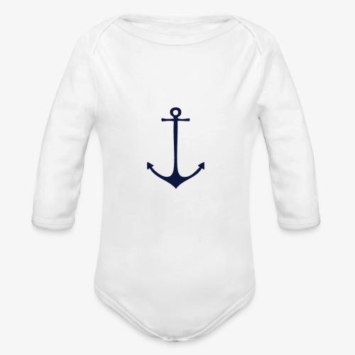 Navy Anchor - Organic Longsleeve Baby Bodysuit