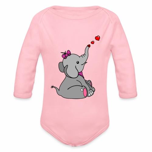 Elefant - Baby Bio-Langarm-Body