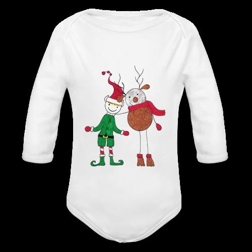 Elfo e Renna di Nonna Catia - Body ecologico per neonato a manica lunga
