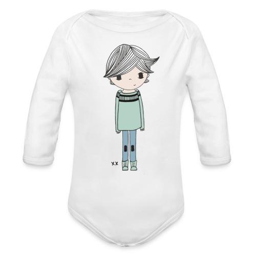 jongetje - Baby bio-rompertje met lange mouwen