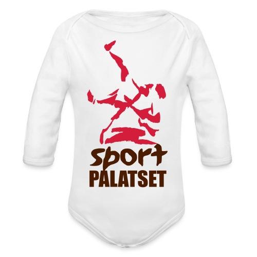 Motiv med svart och röd logga - Ekologisk långärmad babybody