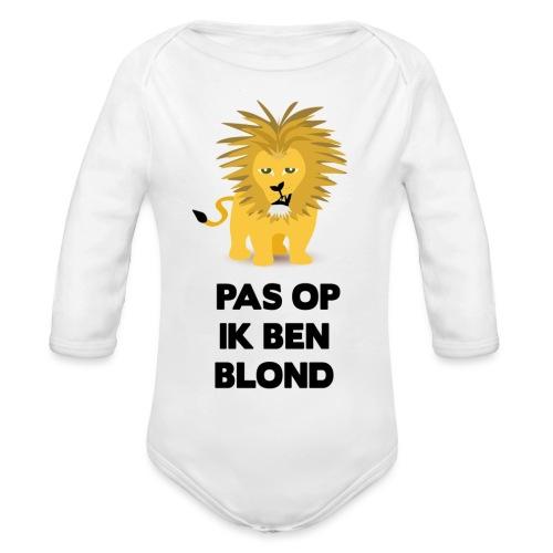Pas op ik ben blond een cartoon van blonde leeuw - Baby bio-rompertje met lange mouwen