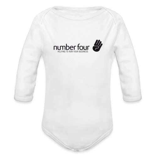 numberfour black - Baby Bio-Langarm-Body