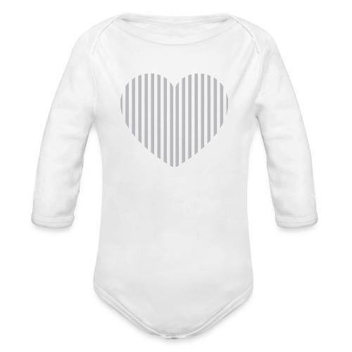 heart_striped.png - Organic Longsleeve Baby Bodysuit