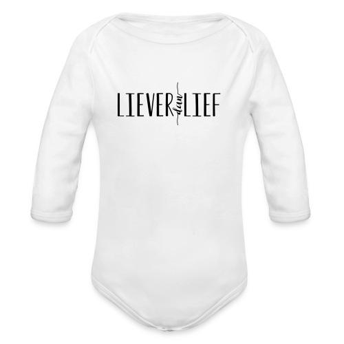 Liever dan Lief logo - Baby bio-rompertje met lange mouwen
