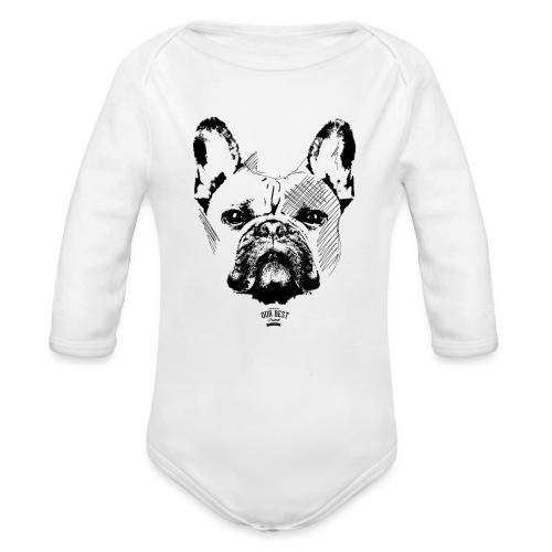 Französische Bulldogge Sketch - Baby Bio-Langarm-Body