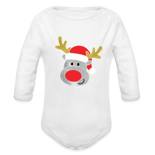 Christmas Reindeer for boys, just add kids name - Organic Longsleeve Baby Bodysuit