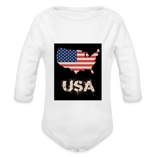 USA FLAG 4th of July With Flag - Ekologisk långärmad babybody