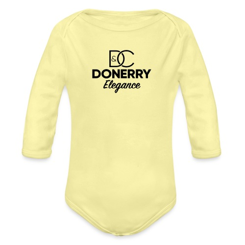 Donerry Elegance Black Logo on White - Organic Longsleeve Baby Bodysuit