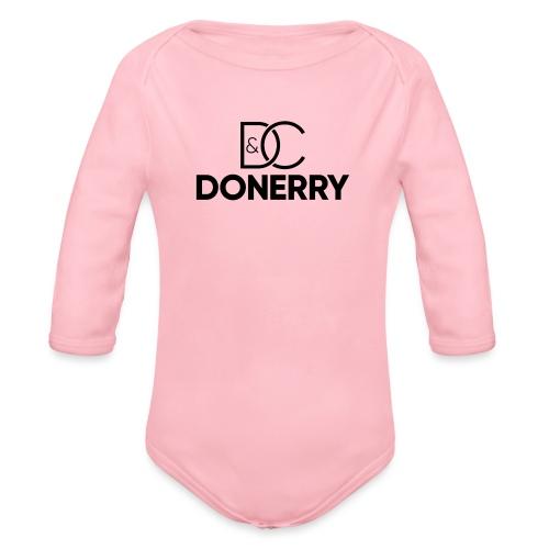 DONERRY Black Logo on White - Organic Longsleeve Baby Bodysuit
