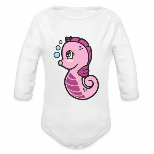 Seepferdchen Mädchen - Baby Bio-Langarm-Body