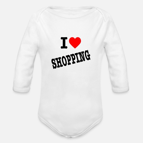 I Love Shopping (Ik Hou van Winkelen) - Baby bio-rompertje met lange mouwen