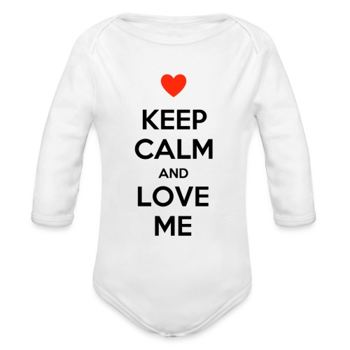 Keep calm and love me - Body ecologico per neonato a manica lunga