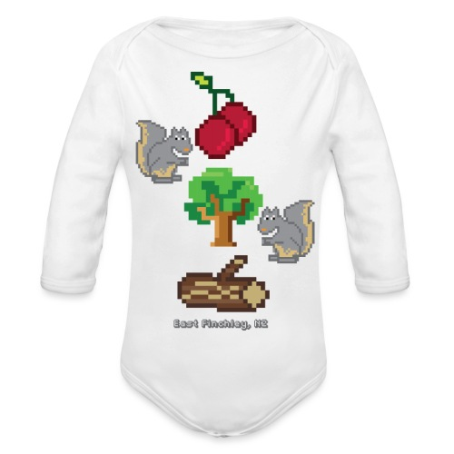 8 Bit Style Cherry Tree Wood Graphic - Organic Longsleeve Baby Bodysuit